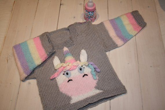 Unicorn Sweater    Hand Knitted Unicorn    Unique Clothes    Baby
