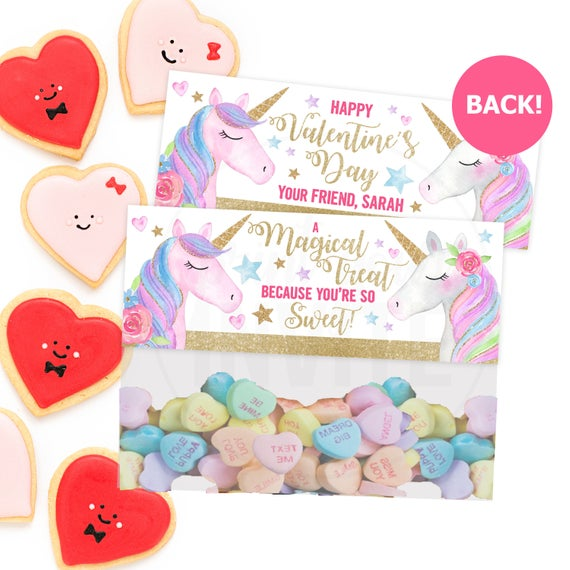 Unicorn Valentine's Day Bag Toppers Candy Bag Toppers
