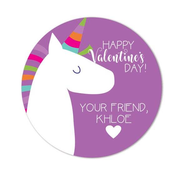 Unicorn Valentine's Day Stickers For Treat Bags Valentine