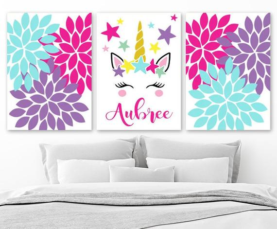 Unicorn Wall Art Unicorn Nursery Decor Canvas Or Prints Girl