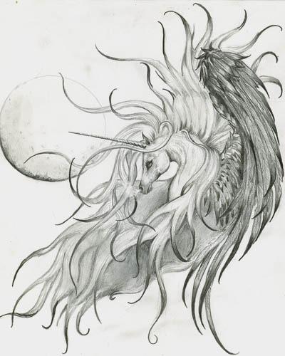 Unicorn With Angel Wings Tattoo Drawing » Tattoo Ideas