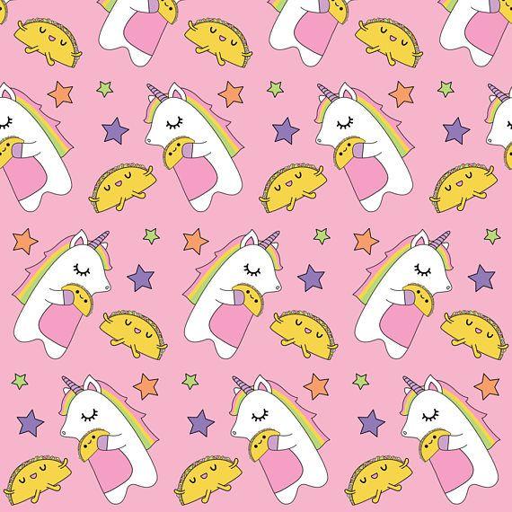 Unicorns Love Tacos Fabric