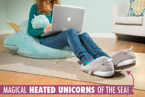 Usb Narwhal Footwarmers  Heated Usb Slippers That Look Like Happy