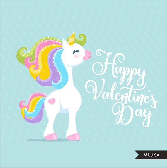 Valentine Unicorn Clipart  Valentine's Day Unicorn Graphics