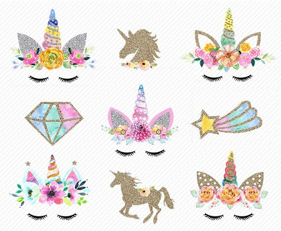 Watercolor Unicorn Clipart  Unicorn Printable  Golden Unicorns