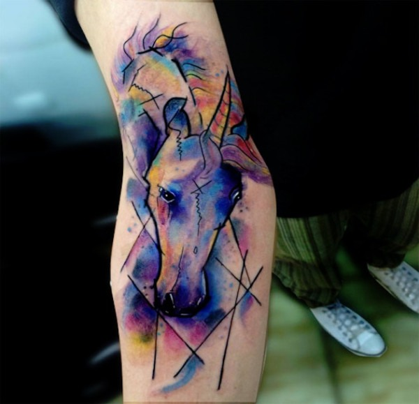 Watercolor Unicorn Tattoo On Right Sleeve
