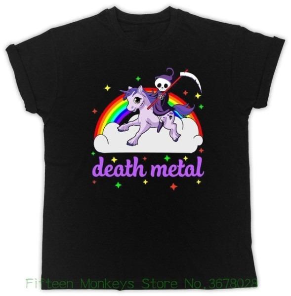Women's Tee Unicorn Rainbow Heavy Metal T Shirt Death Metal Rock