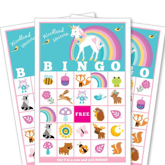 Woodland Unicorn Bingo Game