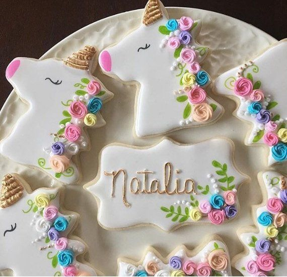 12 Assorted Unicorn And Name Cookies In 2019