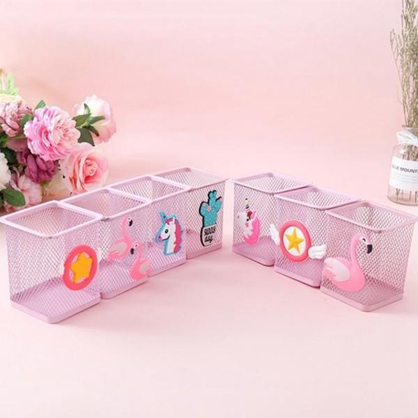1 Pc Kawaii Pink Unicorn Cactus Flamingo Square Stationery Storage