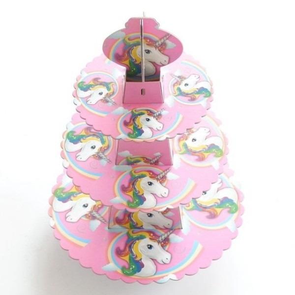 1set Cartoon Unicorn Cake Stand Birthday Party Paper Cake Stand