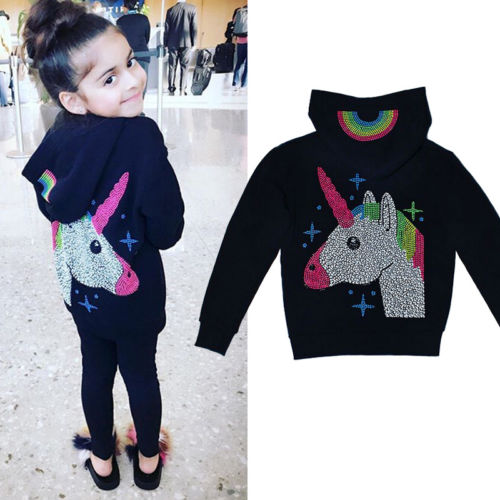 2018 New Spring Fall Hoodies Kid Baby Girl Black Unicorn Warm