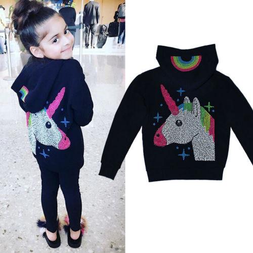 2018 New Spring Fall Hoodies Kid Baby Girl Black Unicorn Warm