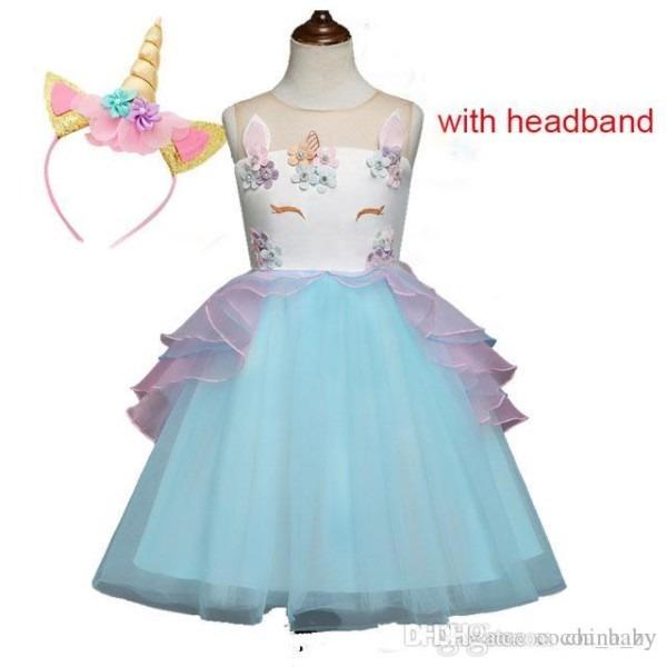 2019 Fancy Kids Unicorn Dress For Girls Embroidery Flower Ball