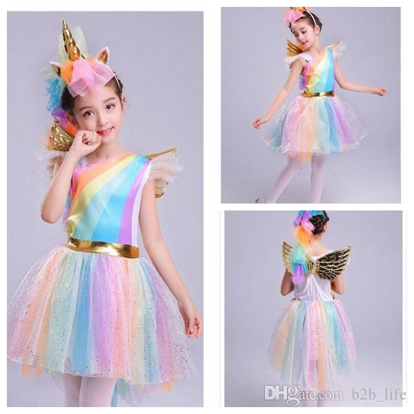2019 Girl Dresses Girl's Unicorn Rainbow Dress Dress + Headwear +