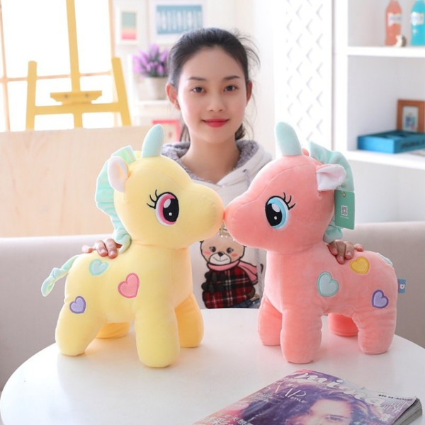 27 35 45cm Love Pattern Cute Unicorn Plush Toy Stuffed Soft Animal