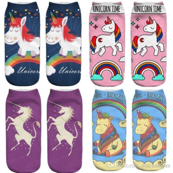 3d Printed Unicorn Socks Unicorn Pattern Ankle Socks For Men Women