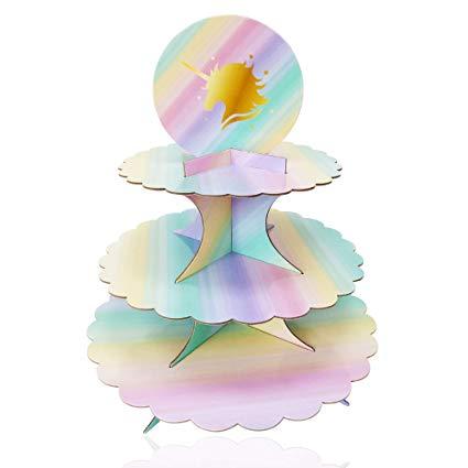 Amazon Com  3 Tier Unicorn Cardboard Cupcake Stand Tower Mini