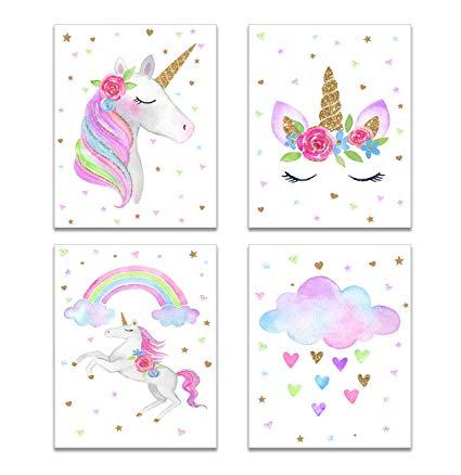 Amazon Com  Anber Cute Unicorn Wall Posters Rainbow Unicorn Canvas