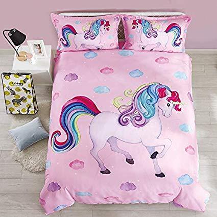 Amazon Com  Beddinginn Twin Unicorn Bedding Set Pink Rainbow