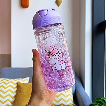 Amazon Com  Caomei 400ml Fashion Double Layer Straw Purple Unicorn