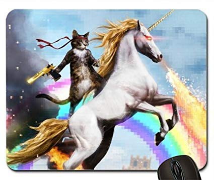 Amazon Com  Cat With Gun Mounted On A Unicorn 1958343 Mouse Pad