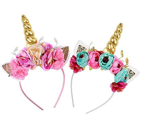 Amazon Com  Createasy Unicorn Horn Headband Rose Flower Headband