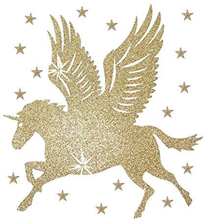 Amazon Com  Fabric Glitter Large Unicorn Wing Horse Gold Iron