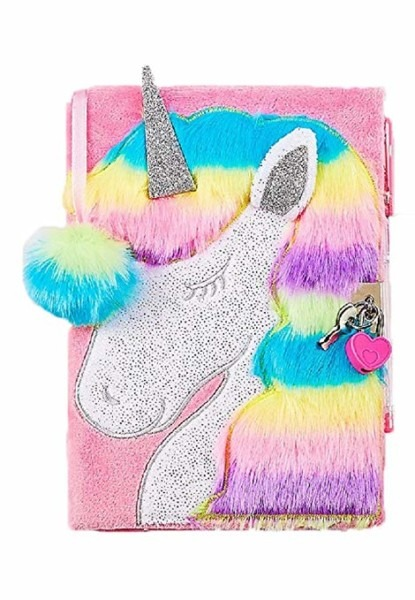 Amazon Com  Justice Faux Fur Unicorn Diary   Journal With Heart