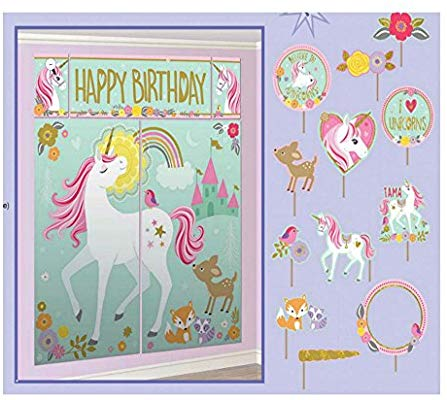 Amazon Com  Magical Unicorn Scene Setter + 12 Prop Photo Booth Kit
