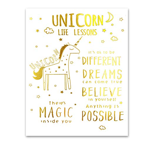 Amazon Com  Real Gold Foil Unicorn Inspirational Motivational