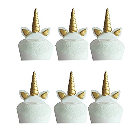 Amazon Com  Small Size Gold Unicorn Horn Cupcake Toppers With Ears