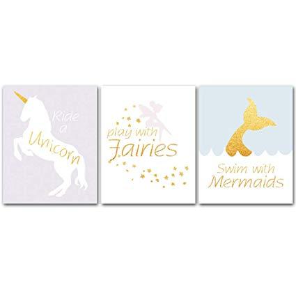 Amazon Com  Unframed, Adorable Fairy Tale Unicorn Fairies Mermaid