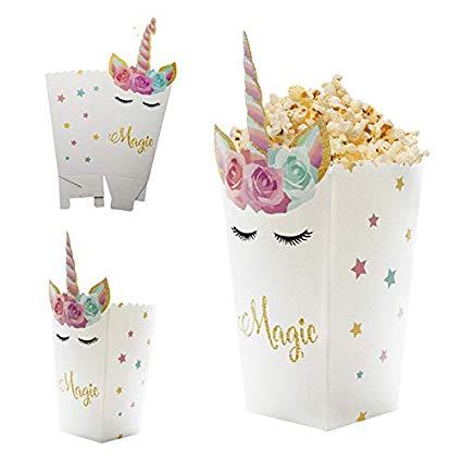 Amazon Com  Xlpd 6pcs Diy Unicorn Theme Popcorn Boxes Birthday