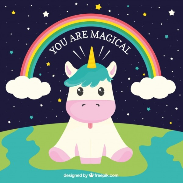 Background Of Funny Unicorn Sitting In The World Vector