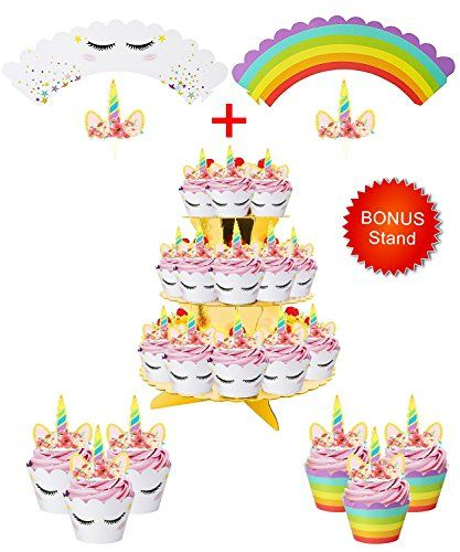 Best Price Rainbow Unicorn Cupcake Toppers And Wrappers W Bonus