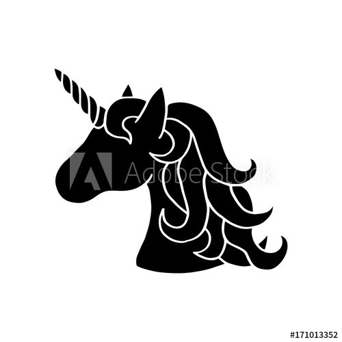 Black Silhouette Of Unicorn  Vector Illustration Drawing, Isolated