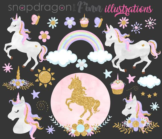 Buy5get5 Unicorn Clipart Watercolor Unicorn Clip Art Gold