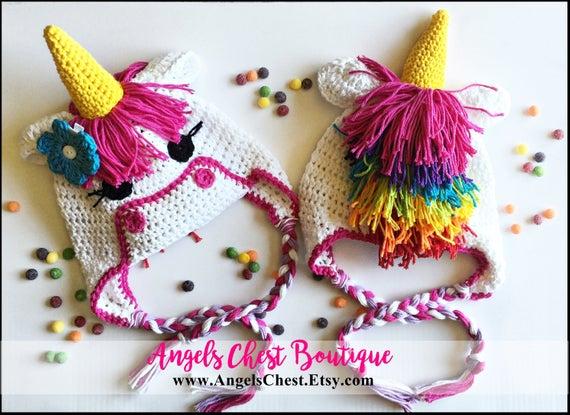 Crochet Pattern Unicorn Earflap Or Beanie Hat Angelschest