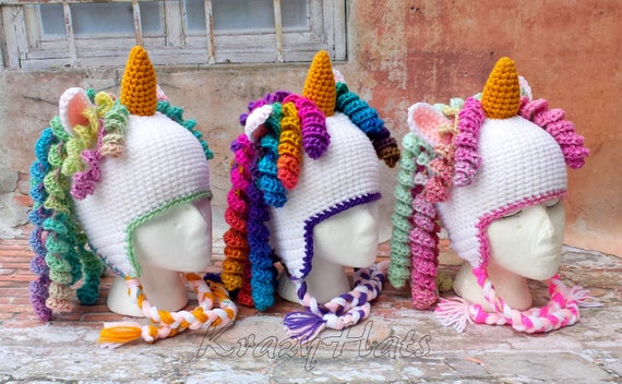 Crochet Unicorn Hat  Rainbow Unicorn Hat  Crochet Hat