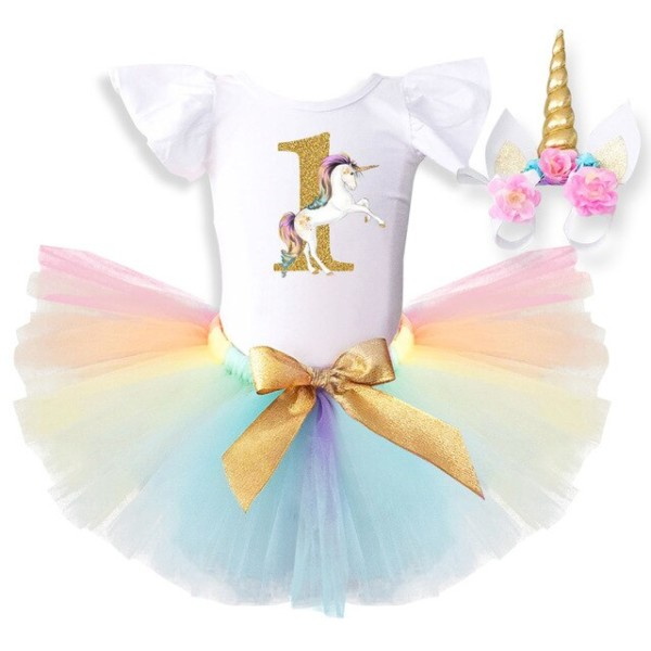 Cute Pink Newborn Baby Kid Girls Unicorn Dresses 3pcs Unicorn