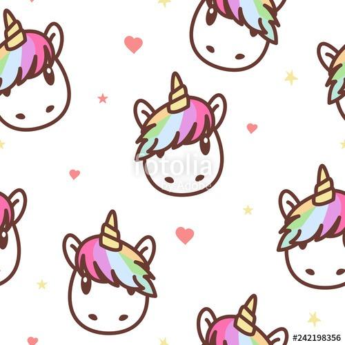 Cute Unicorn Face Cartoon Seamless Pattern, Vector Illustration