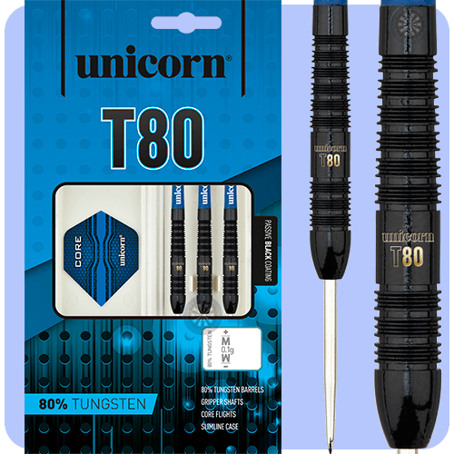Darts Unicorn Core Xl T80 Black 80  Tungsten Steel Tip Darts