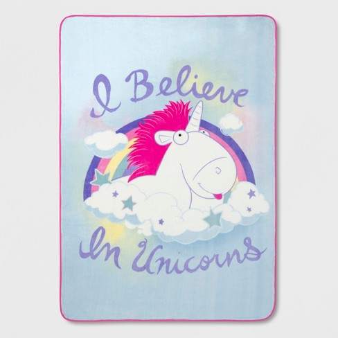 Despicable Me Fluffy Unicorn Twin Microfiber Blanket   Target
