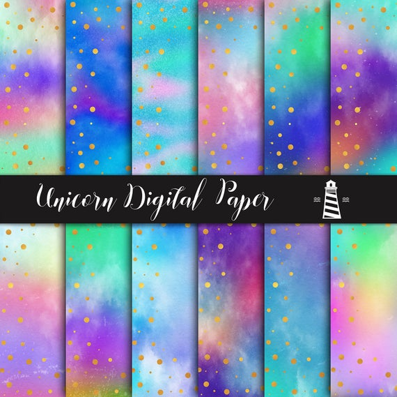 Dreamy Digital Paper, Unicorn Rainbow Textured Paper With Gold