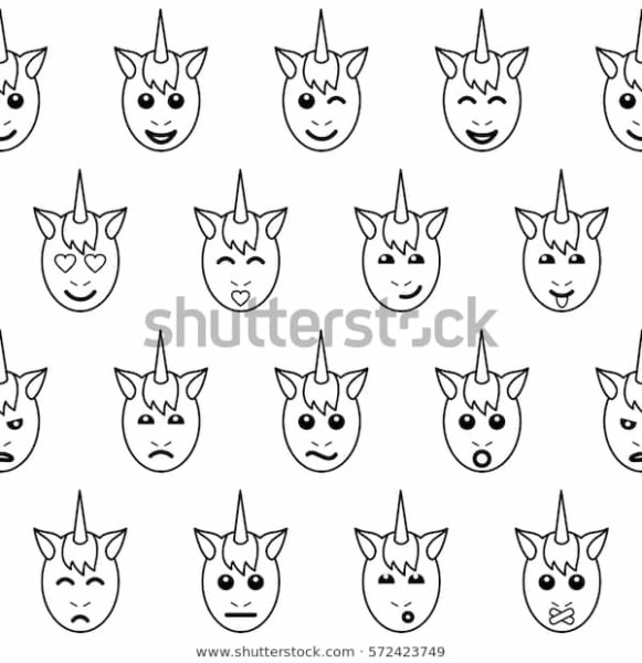 Emotional Unicorn Face Seamless Pattern On Stock Vector (royalty