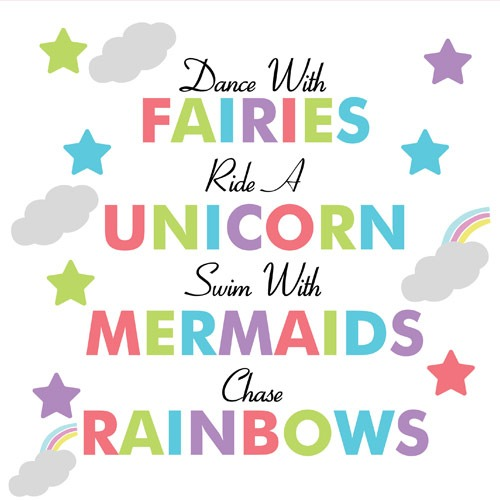 Fairies Unicorn Mermaids And Rainbows Pvc Party Sign Decoration