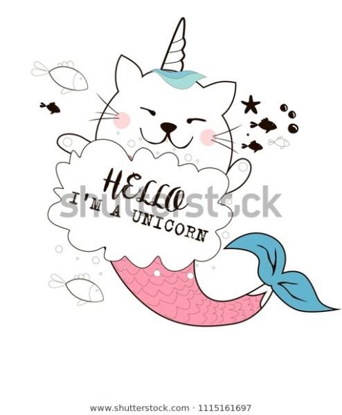 Fairy Cat Unicorn Mermaid Greeting Card Stock Vector (royalty Free