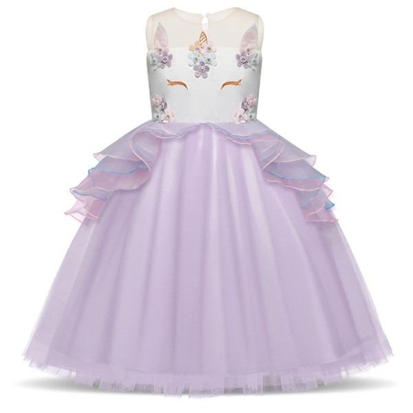 Fancy Girls Unicorn Pink Dress Fairy Princess Costume For Kids