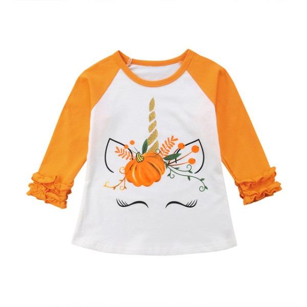 Fashion Halloween Kids Baby Girl Cotton Unicorn Pumpkin Tops Long